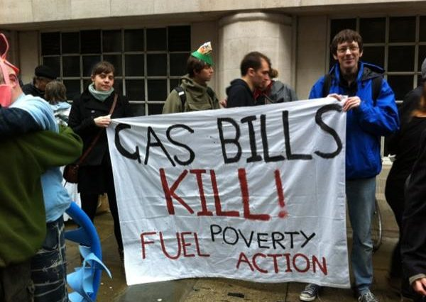 Protesters holding Fuel Poverty banner