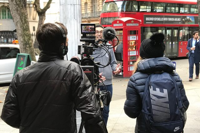 Filming in London