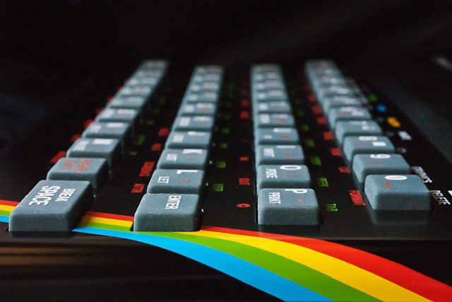 The ZX Spectrum, complete with 80s rainbow