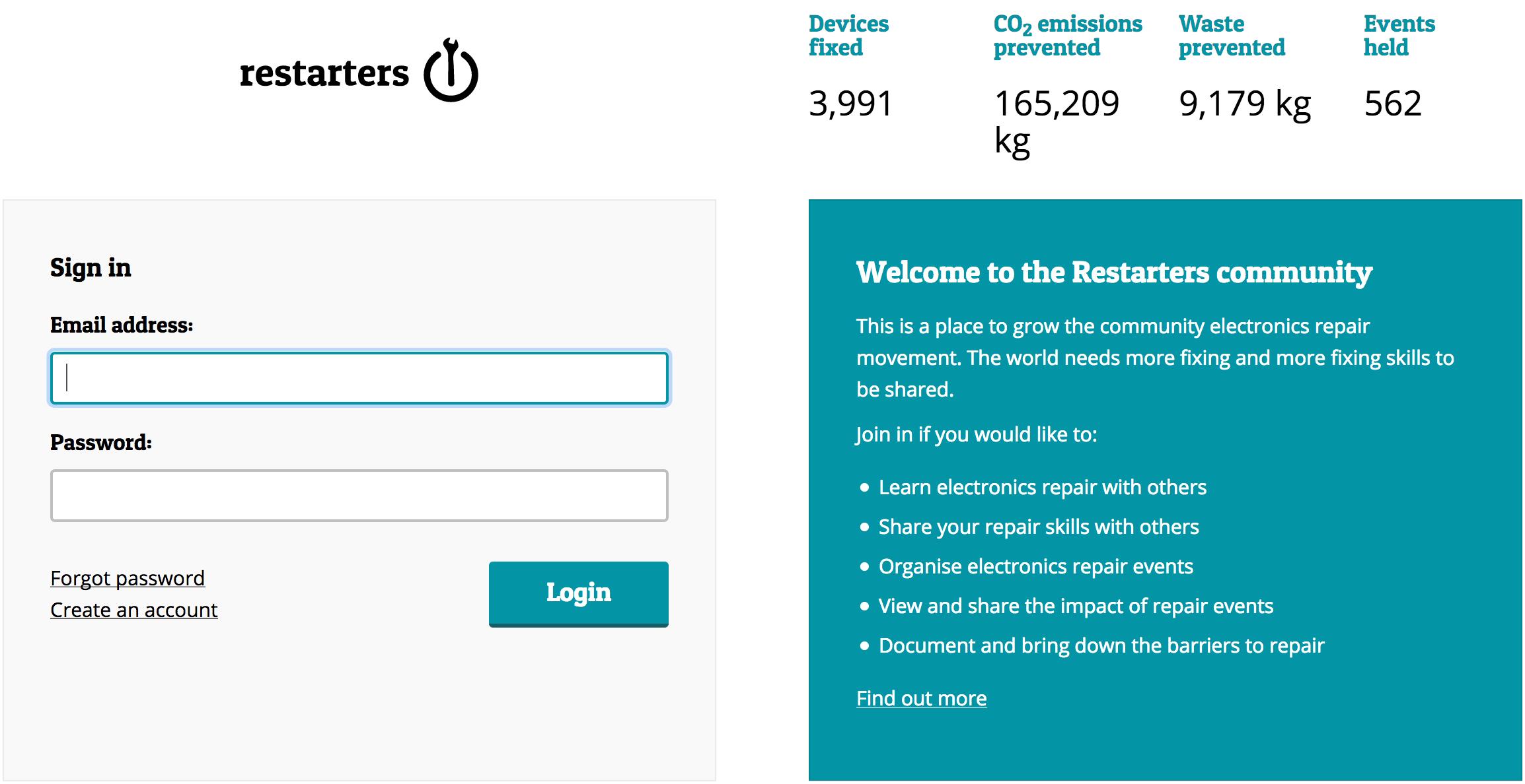 Restarters login page