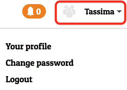 Restarters user menu: Your Profile, Change password, Logout