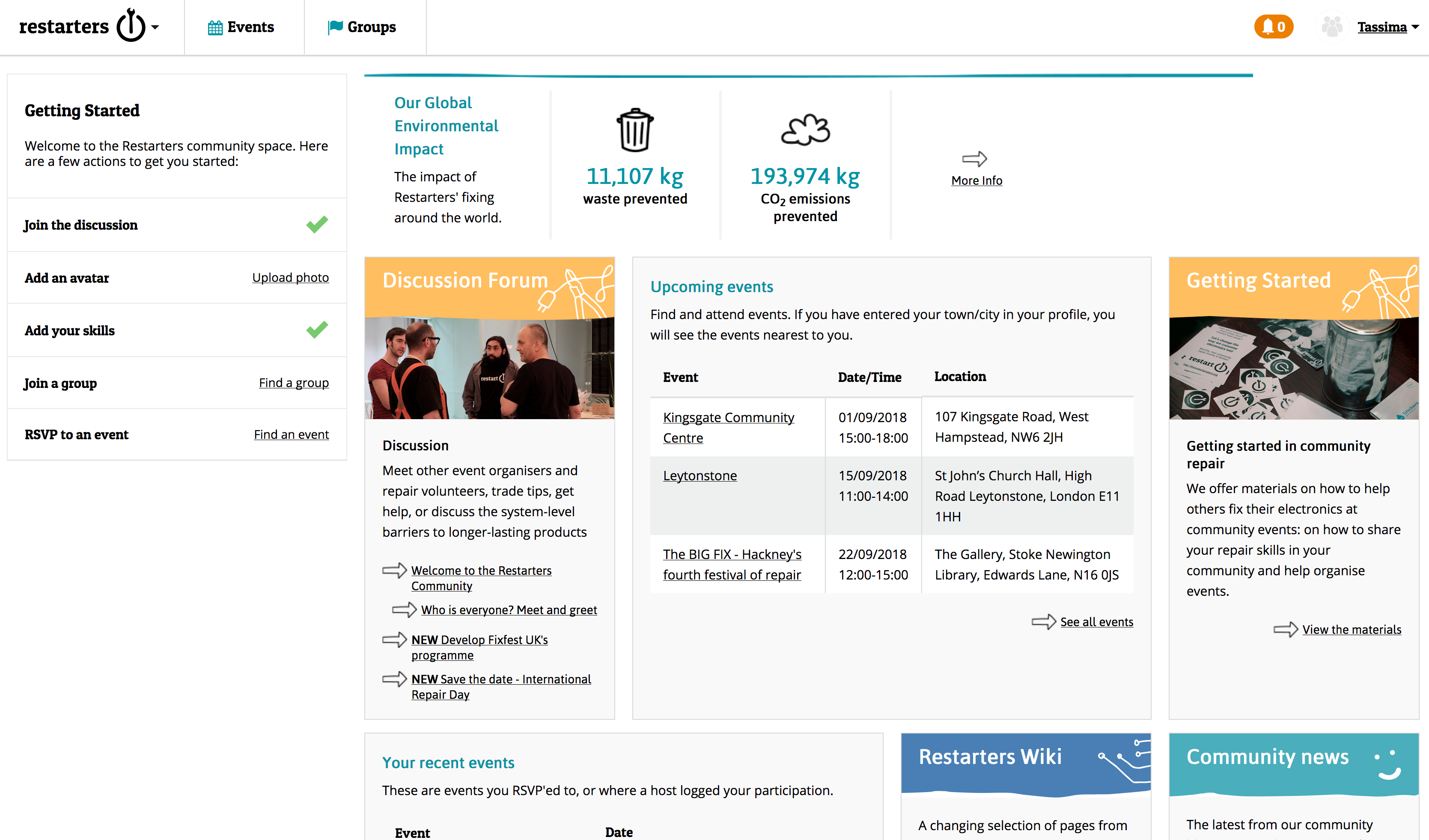 Restarters dashboard - the different areas of the community platform: Getting started, global impact, discussion area, wiki, Restart party kit, community news and upcoming events