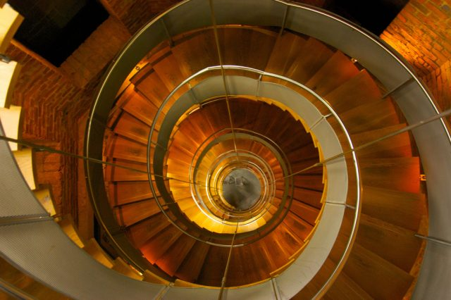 View from above of Mackintosh's famous spiral staircase