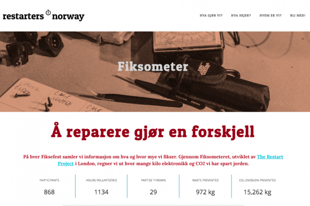 Screengrab of Restarters Norway website, where they display their data
