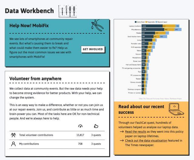 Screenshot of the data workbench