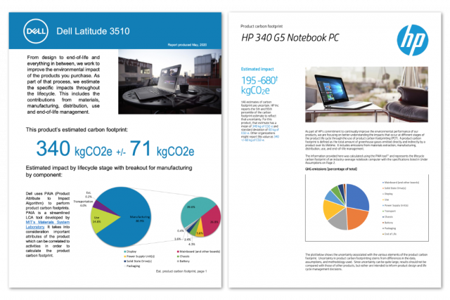 Two LCA reports from Dell and HP