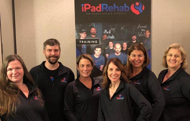 Jessa Jones (pictured far right) and the iPad Rehab team
